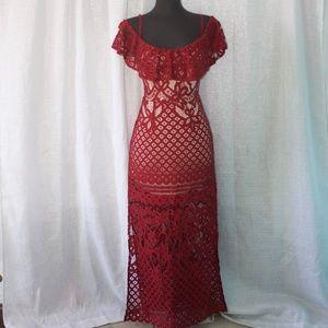 Haute Monde Lace Red Maxi Dress